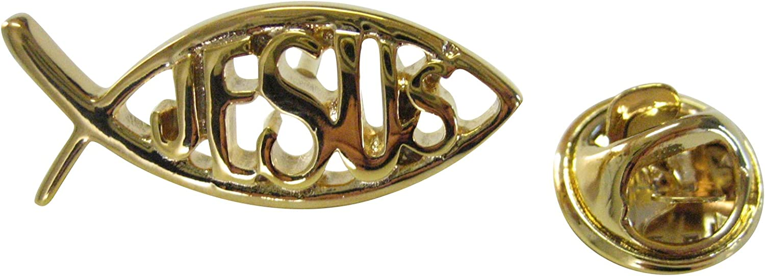 gold Toned Religious Jesus Fish Lapel Pin