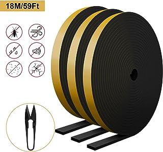 RATEL Tira de Sellado Junta 12 mm (W) * 3 mm (H) * 18 m (L) con Tijeras * 1, Tiras de Sellado Autoadhesivas Anticolisión y Aislamiento Acústico para Grietas y Espacios (Negro)