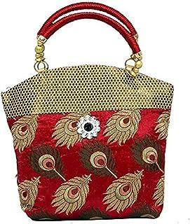 Kuber Industries Women's Cotton Traditional Design Mini Handbag, Red (KI0044914)