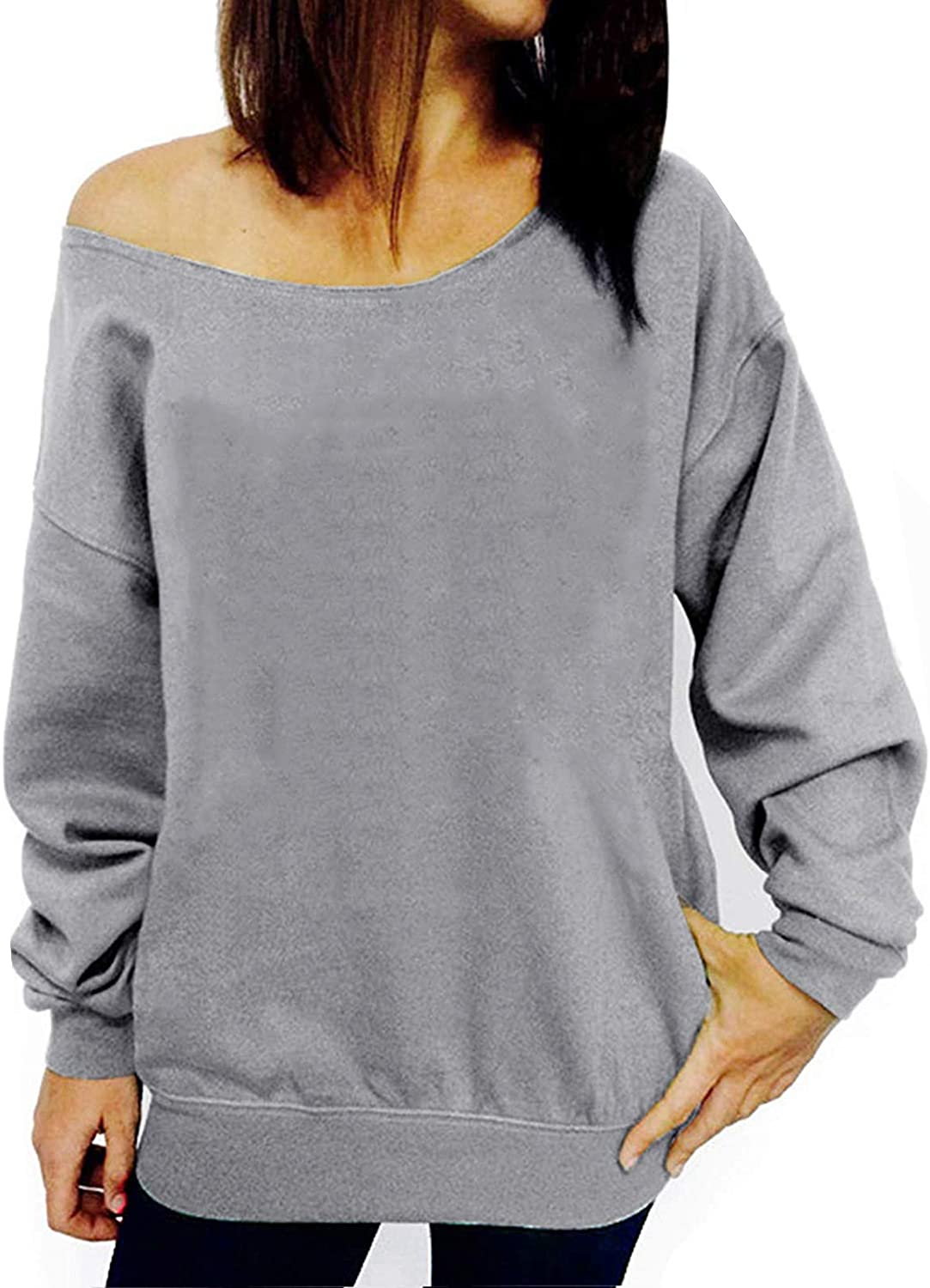 LYXIOF Womens Off Shoulder Sweatshirt Slouchy Long Sleeve Shirts Pullover Tops