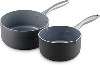 GreenPan CW0004154 Lima 1QT and 2QT Ceramic Non-Stick Saucepan Set,Black
