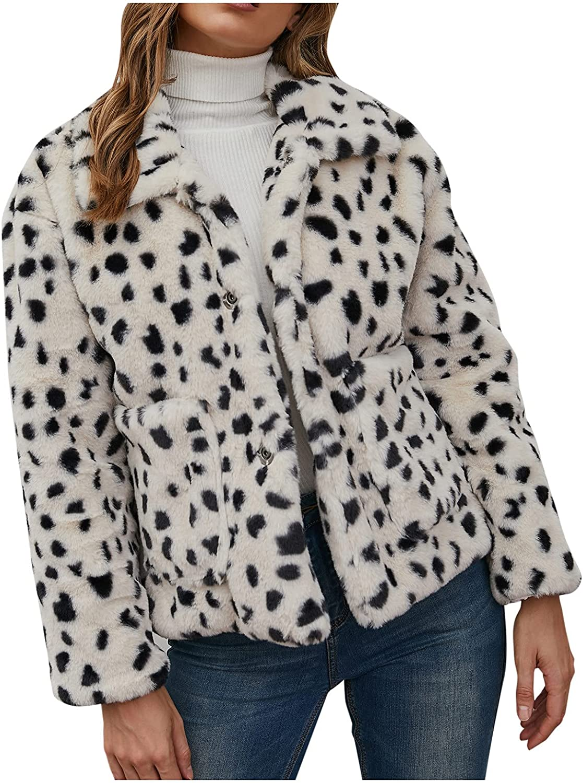 Euone_Clothes Coats for Women, Womens Faux Fur' Long Sleeve Print Waistcoat Body Warmer Jacket Coat Outwear