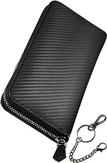 [ブランゼ] 財布 メンズ 長財布 カーボンレザー ラウンドファスナー YKK製 セパレート型 小銭入れ 牛革 ビジネス