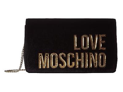 LOVE Moschino Logo Chain Crossbody (Nero) Handbags