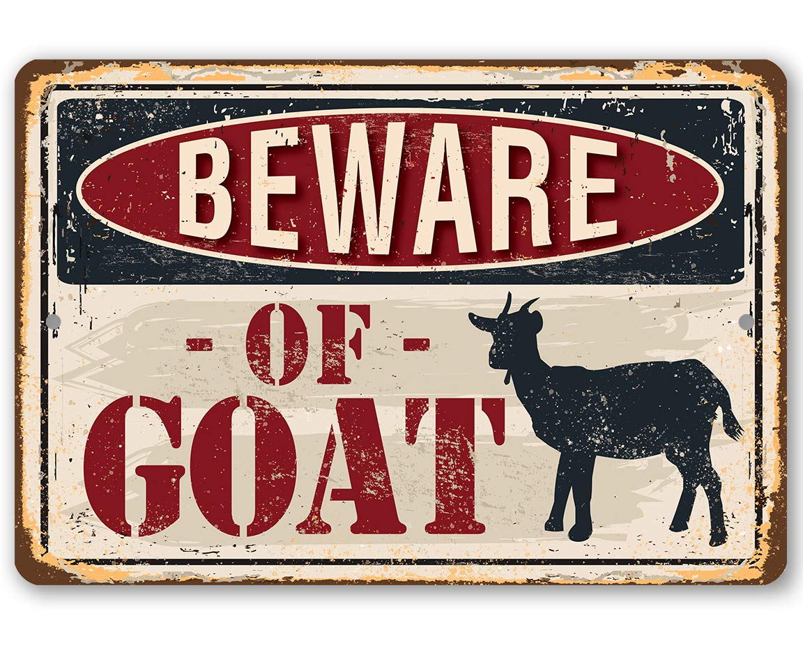 Metal Sign Limited price - Beware Mail order cheap of Goat Use Ou Durable Indoor