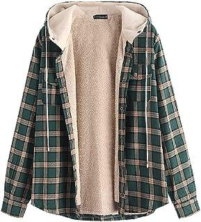 Casual Plaid Fleece Jacket Unisex Men Drawstring Hooded Fuzzy Hoodie
