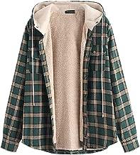 ZAFUL Casual Plaid Fleece Jacket Unisex Men Drawstring Hooded Fuzzy Hoodie