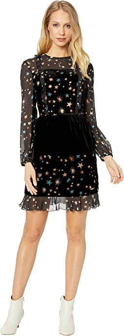Colour By Numbers Mirres Long Sleeve Devore Star Dress