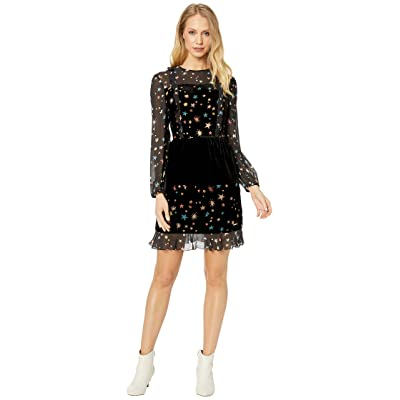 Ted Baker Colour By Numbers Mirres Long Sleeve Devore Star Dress (Black) Women