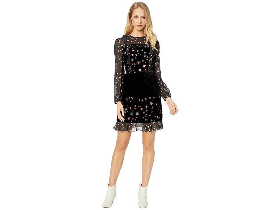 5129f857edc4ef Ted Baker Colour By Numbers Mirres Long Sleeve Devore Star Dress (Black)  Women