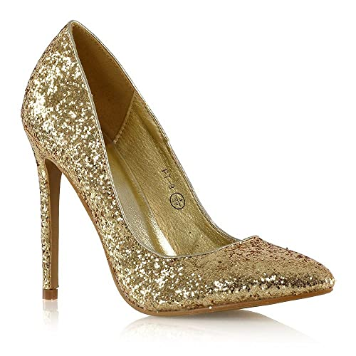 96a1fa334fc7 ESSEX GLAM Womens Stiletto High Heel Court Shoes Ladies Glitter Slip On  Pumps Size 3-