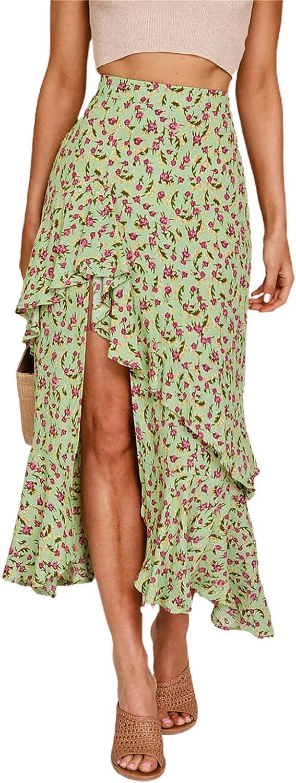 chouyatou Women's Elastic Waist High Low Flounce Hem Floral Print Midi Long Skirt
