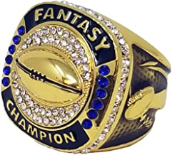 Decade Awards 18K Gold Plated Fantasy Football Champion Ring | Style B | Heavy FFL League Champ Ring with Stand