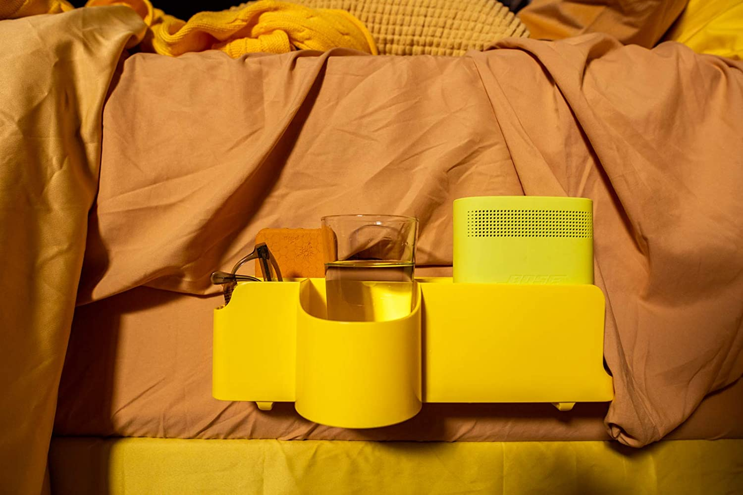 Night Caddy Deluxe Bedside Caddy Organizer - Includes USB Charger Power Cord - Adjustable - Cup Holder - Storage for Bedrooms College Dorms Bunk Beds to Hold Remotes Tablets Laptops Phones - Yellow