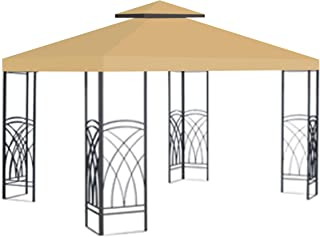 Ez pop Up Instant Canopy 10'X10' Replacement Top Gazebo EZ Canopy Cover Patio Pavilion Sunshade plyester-Beige