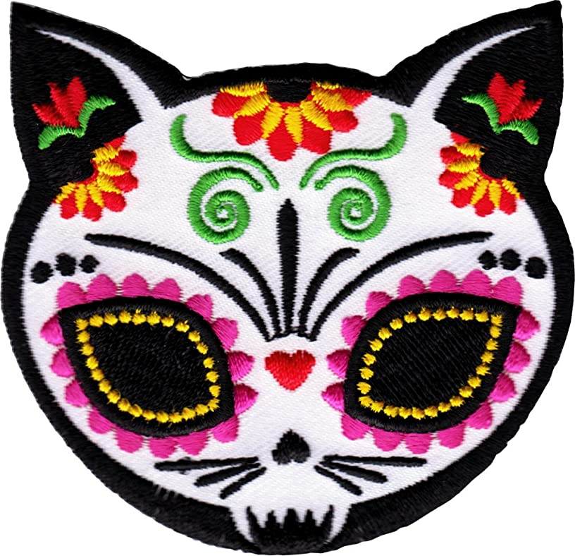 Evilkid Gato Muerto Sugar Skull Cat PATCH, Iron-On / Saw-On, Carded & Packaged Individually - 3