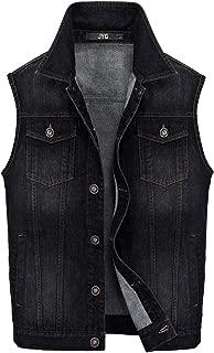 JYG Men's Big & Tall Denim Vest Unlined Motorcycle Jean Jacket
