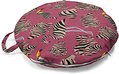Ambesonne Pink Zebra Round Floor Cushion with Handle, Flamingos Toucans Large Tropical Leaves in Zebra Stripes Trippy Illustr