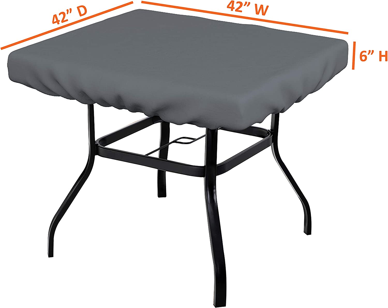 x 24 100/% Weather Resistant Outdoor Table Cover with Elastic for Snug Fit D Square Table Top Covers 12 OZ , Beige W x 24 H 6