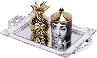 Zosenley Antique Decorative Mirror Tray, Floral Jewelry Organizer Tray for Makeup, Decoration and Accessory, Large Rectangle Display and Serving Tray (Golden Gray)