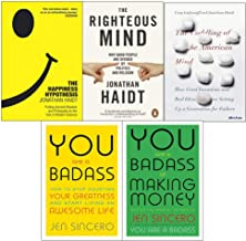 Happiness hypothesis, the righteous mind, coddling of the american mind [hardcover], you are a badass at making money 5 books collection set