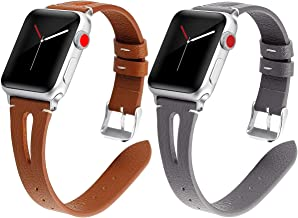 Kaome Leather Band Compatible for Apple Watch Band 40mm 38mm,44mm 42mm Slim Elegant Strap, Women Replacement Bands for iWatch Series 4, Series 3, Fashionable Feminine Breathable Slit Design