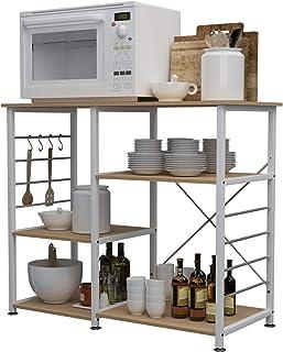 sogesfurniture Estante de Cocina Estantería para Microondas Estantería Metálica 3 Niveles Bakers Rack Soporte para Carro...