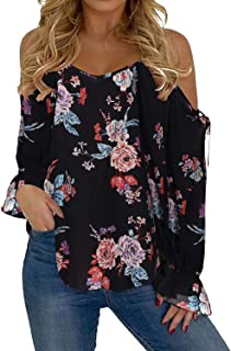 FEISI22 Womens Lace Collar Short Sleeve Cold Shoulder Butterfly Print Loose Blouse Top Off Shoulder Summer Shirt