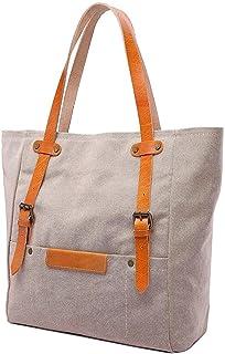 Shoulder Bag Women's Tote Bag Cotton Cross Leather Multi-Side Shoulder Messenger Bag Handbag Clutch (Color : Beige, Size : Medium)