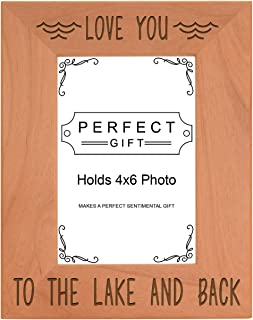 ThisWear Lake Frames Love You to The Lake Back Photo Frame Wood Engraved 4x6 Portrait Picture Frame