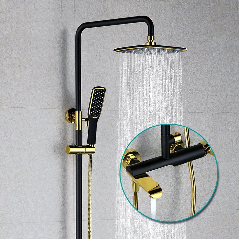 ZHFC Dusche alle Bronze schwarz Gold Dusche Set In die Wand Chrom Ming Stange duschen alle Bronze Thema Dusche Set