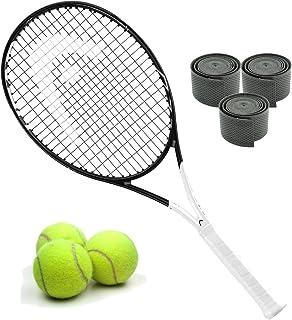 Head Graphene 360速度ジュニアブラック/ホワイトMidplus 16x 19テニスラケットスターターキットまたはセットバンドルwith (1) Can 3のテニスボール、(1) 3- Pack of Overgrips