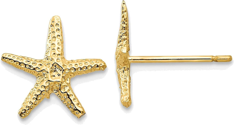 Starfish Post Earrings in 14K Yellow Gold