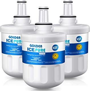 GOLDEN ICEPURE DA29-00003G Replacement for Refrigerator Water Filter, Compatible Samsung DA29-00003G, DA29-00003B, RSG257AARS, RFG237AARS, DA29-00003F, HAFCU1, RFG297AARS, RS22HDHPNSR, WSS-1, 3 Pack