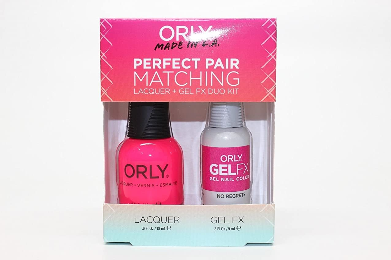 変色する安全な憲法Orly Lacquer + Gel FX - Perfect Pair Matching DUO Kit - No Regrets