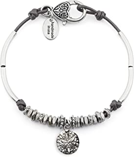 Lola Anklet w Sand Dollar Charm in Metallic Gunmetal Leather Silver Plate Crescents