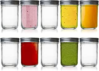 Seacoast Wide Mouth Jar Canning Spices Baby Food Mason Jars, Airtight Jars Great for Candles, Yogurt, Glass Spice Jars wit...