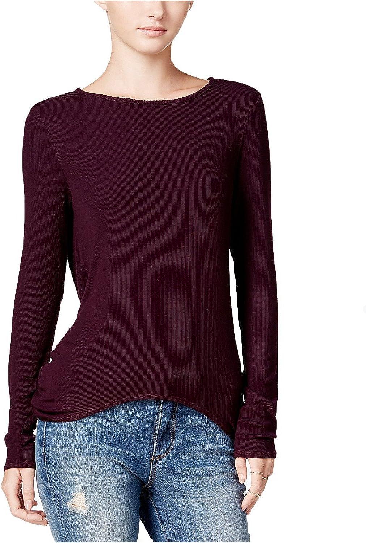 Chelsea Sky Women's Draped Open Back Knit Top, Purple (Medium)