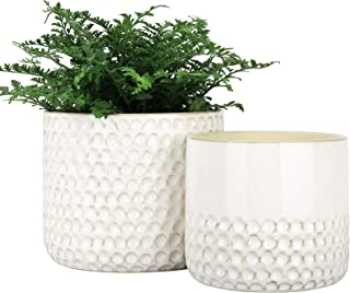 LA JOLIE MUSE Ceramic Planter Flower Plant Pots- 6.7+5.5 Inch Concave Dot Patterned Cylinder Flower Pot with Drain Hole fo...