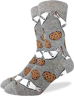 Sponsored Ad - Good Luck Sock Men`s Milk & Cookies Crew Socks - Grey, Shoe Size 7-12