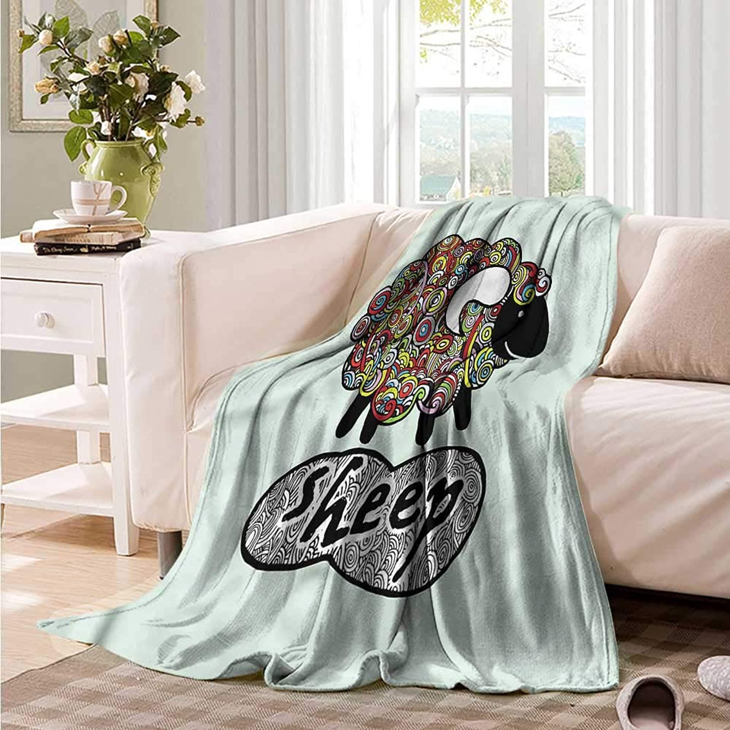 Oncegod Flannel Blanket Indie Hipster Doodle Fun Sheep Camping Throw,Office wrap 60  W x 51  L