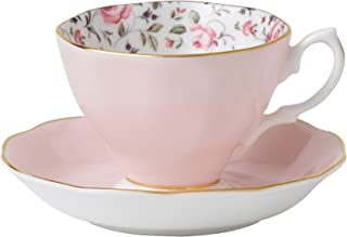 Royal Albert 8704026135 Rose Confetti Formal Vintage Boxed Teacup and Saucer Set