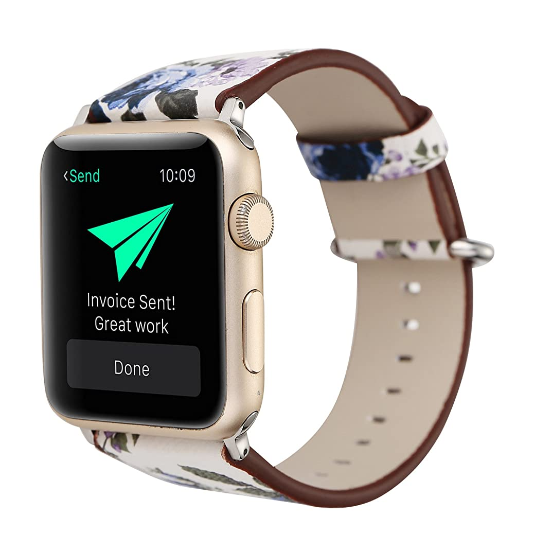 WonderKathy Romantic Retro Floral Printed Adjustable Wrist Band Natural Style PU Compatible for Apple Watch Band Strap Compatible for iWatch Series 3 2 1, Sport & Edition (White-Blue Flower, 42mm) wzrlmuiqoy