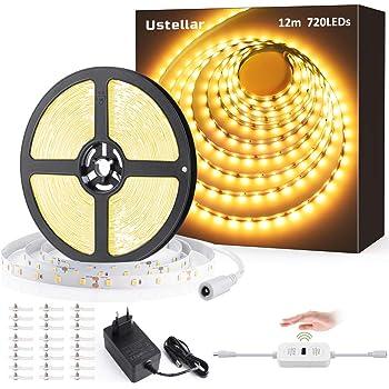 Ustellar LED Strip Dimmbar 12M, LED Streifen Warmweiß 3000k Selbstklebend LED lichtband Strips mit Handwelleschalter, 720LEDs Lichtleist 3600LM kürzbar 24W für Unterbauleuchte Küche Schrankbeleuchtung