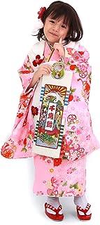 【桜2/ピンク地に鼓と流れ桜/白】 七五三 着物 3歳 女の子 被布着物 フルコーディネート10点セット