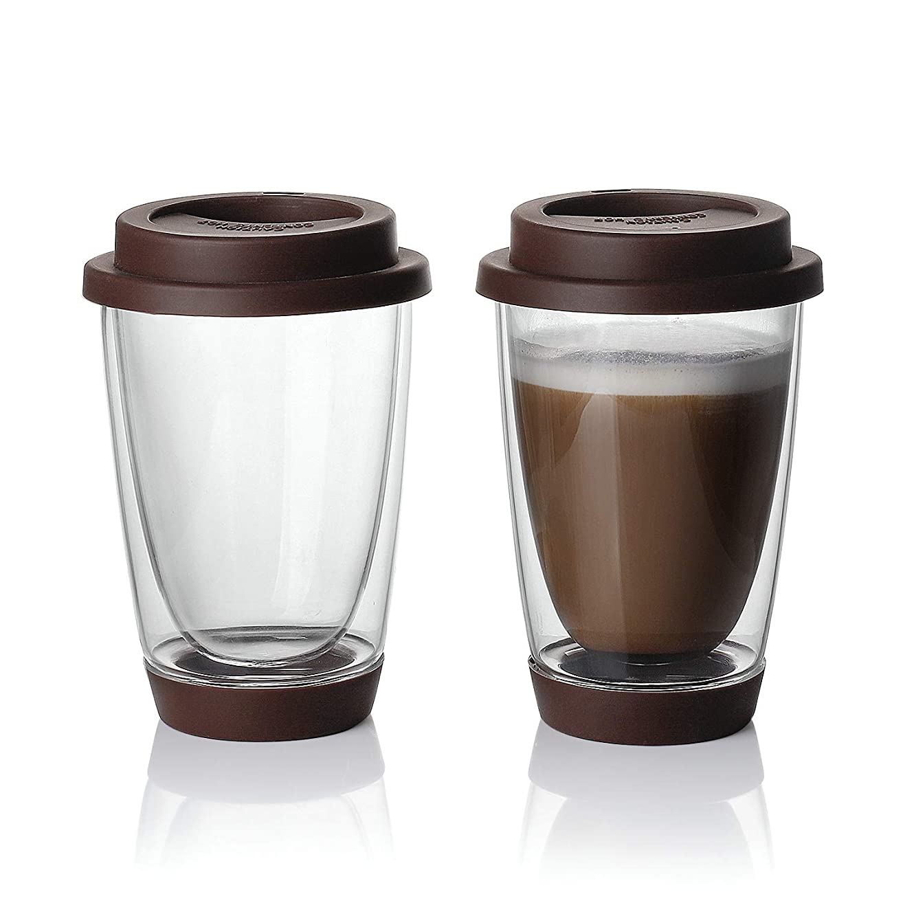 Sweese Glass Travel Coffee Mug Set of 2 - Double Wall Thermo Insulated Borosilicate Reusable Cup with Silicone Lid and Base, Perfect for Cappuccino, Latte, Espresso,Tea, Beverages, 13.5 oz (Brown)