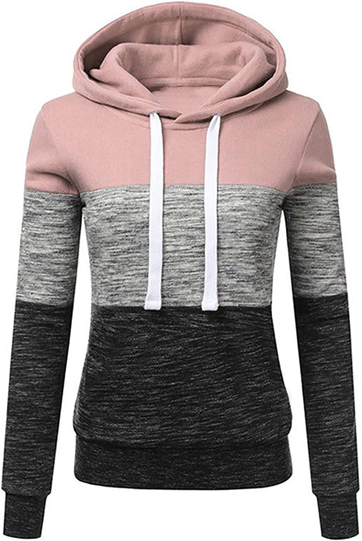 Eduavar Hoodies for Women, Womens Fashion Color Block Long Sleeve Hooded Sweatshirts Casual Loose Patchwork Hoodie Tops