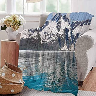 SSKJTC Travel Throw Blanket Aialik Bay Kenai Fjords Arctic Landscape Northern American Idyllic Aqua Sky Blue Forest Green Couch Bed Napping Reading Recliner W60 xL80
