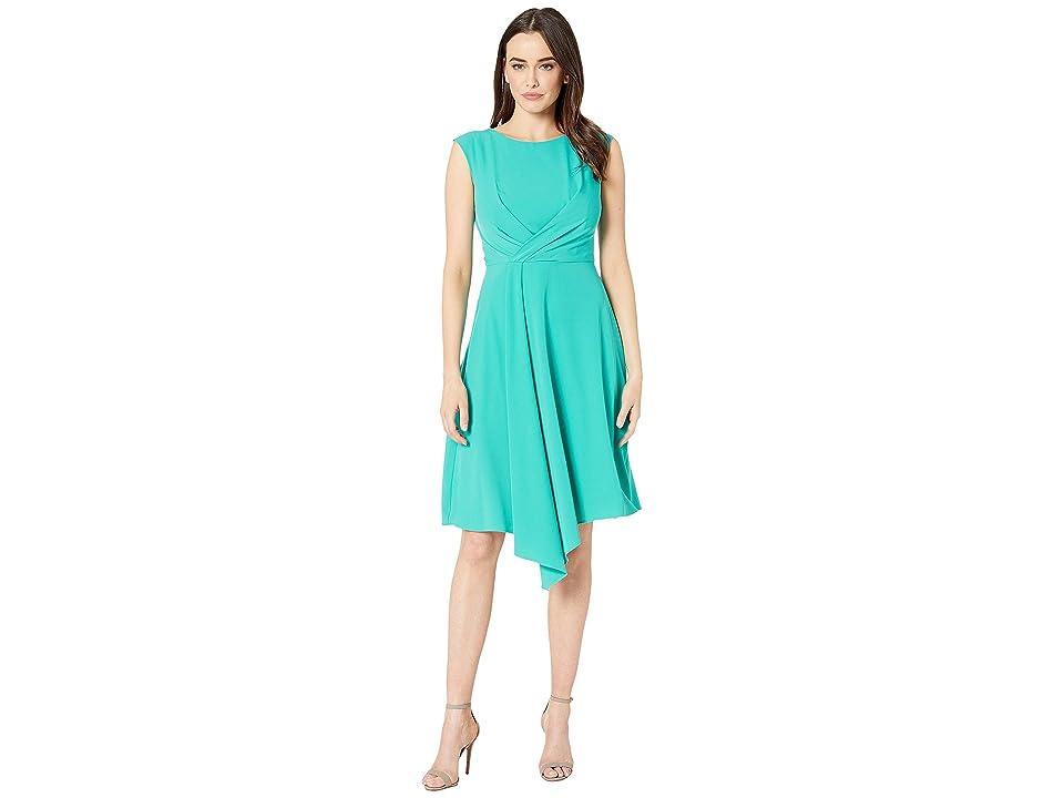 Taylor Cap Sleeve Solid A-Line Dress (Jade) Women
