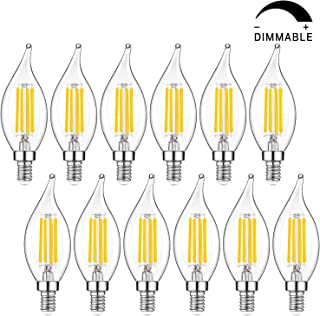 Dimmable E12 Candelabra LED Bulbs 40W Equivalent, 4W Chandelier Light Bulbs, 2700K Warm White, CA11 Flame Tip Vintage LED Candle Bulbs Best for Living-Room, Bedroom, Ceiling Fan, Pack of 12